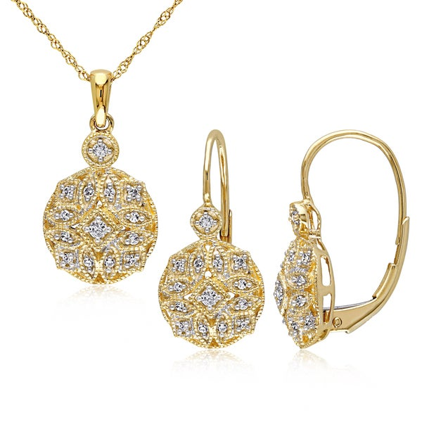 Miadora Signature Collection 14k Yellow Gold 1/3ct TDW Diamond Vintage Necklace and Leverback Earrings Set (G-H, I1-I2) - White. Opens flyout.