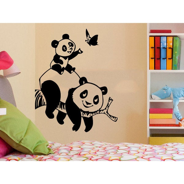 Panda Bear Animals Living Room Decor Baby Kids Sticker Decal Size 48x57 Color Black 48