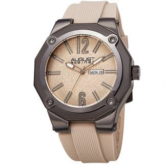August Steiner Men's Bold Day/Date Sandblasted Dodecagonal Beige Strap Watch with FREE GIFT|https://ak1.ostkcdn.com/images/products/14198457/P20793976.jpg?impolicy=medium