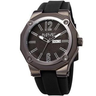 August Steiner Men's Bold Day/Date Sandblasted Dodecagonal Black Strap Watch