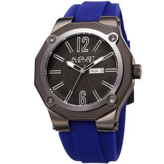 August Steiner Men's Bold Day/Date Sandblasted Dodecagonal Blue Strap Watch