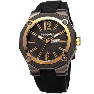 August Steiner Men's Bold Day/Date Sandblasted Dodecagonal Black/Gold-Tone Strap Watch