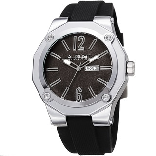 August Steiner Men's Bold Day/Date Sandblasted Dodecagonal Silver-Tone/Black Strap Watch