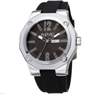 August Steiner Men's Bold Day/Date Sandblasted Dodecagonal Silver-Tone/Black Strap Watch