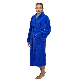 Women's Star Design Shawl Fleece Bathrobe