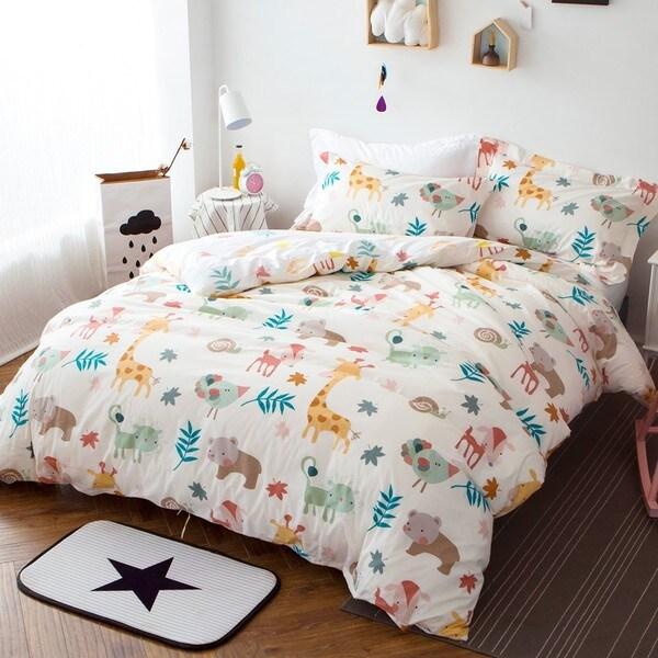 Woodland Animal 100% Cotton 3-piece Duvet Cover Set