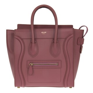 Celine Micro Bordeaux with Gold Hardware Leather Handbag