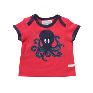 Rockin' Baby Red and Purple Cotton Octopus Applique T-shirt