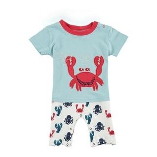 Rockin' Baby Crab Blue Cotton Applique Shorty Romper