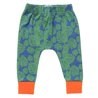 Rockin' Baby Green and Orange Cotton Tropical Leaf Print Leggings