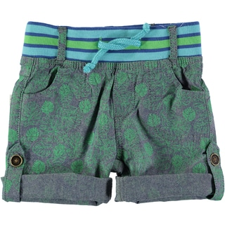 Rockin' Baby Boys' Chambray and Green Leaf Print Cotton Short