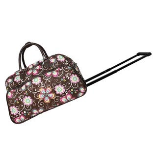 World Traveler Brown Daisy 21-Inch Carry-On Rolling Duffel Bag