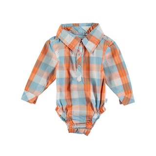 Rockin' Baby Blue and Orange Cotton Checked Woven Collared Bodysuit