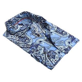 Men's Blue European Modern-fit Pais-print Dress Shirt