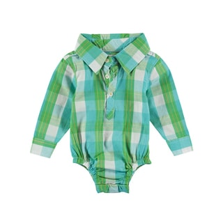 Rockin' Baby Green Cotton Checked Woven Collared Bodysuit