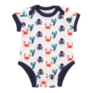 Rockin' Baby Infants' Blue and White Cotton Sea-life Print Bodysuit
