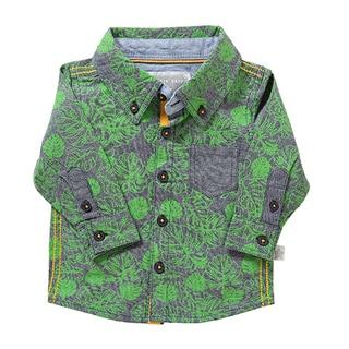 Rockin' Baby Kids' Leaf Print Green Chambray Shirt