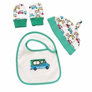 Rockin' Baby Infant Boys' Ice Cream White and Green Cotton Bib Set