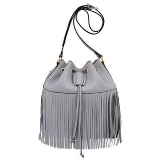 Mellow World Casey Grey Fringe Bucket Bag