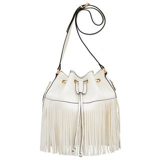 Mellow World Casey White Faux Leather Fringe Bucket Bag