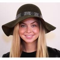 a9c7543e3d3 Shop Hatch Floral Applique Wool Felt Floppy Wide Brim Women s Hat ...