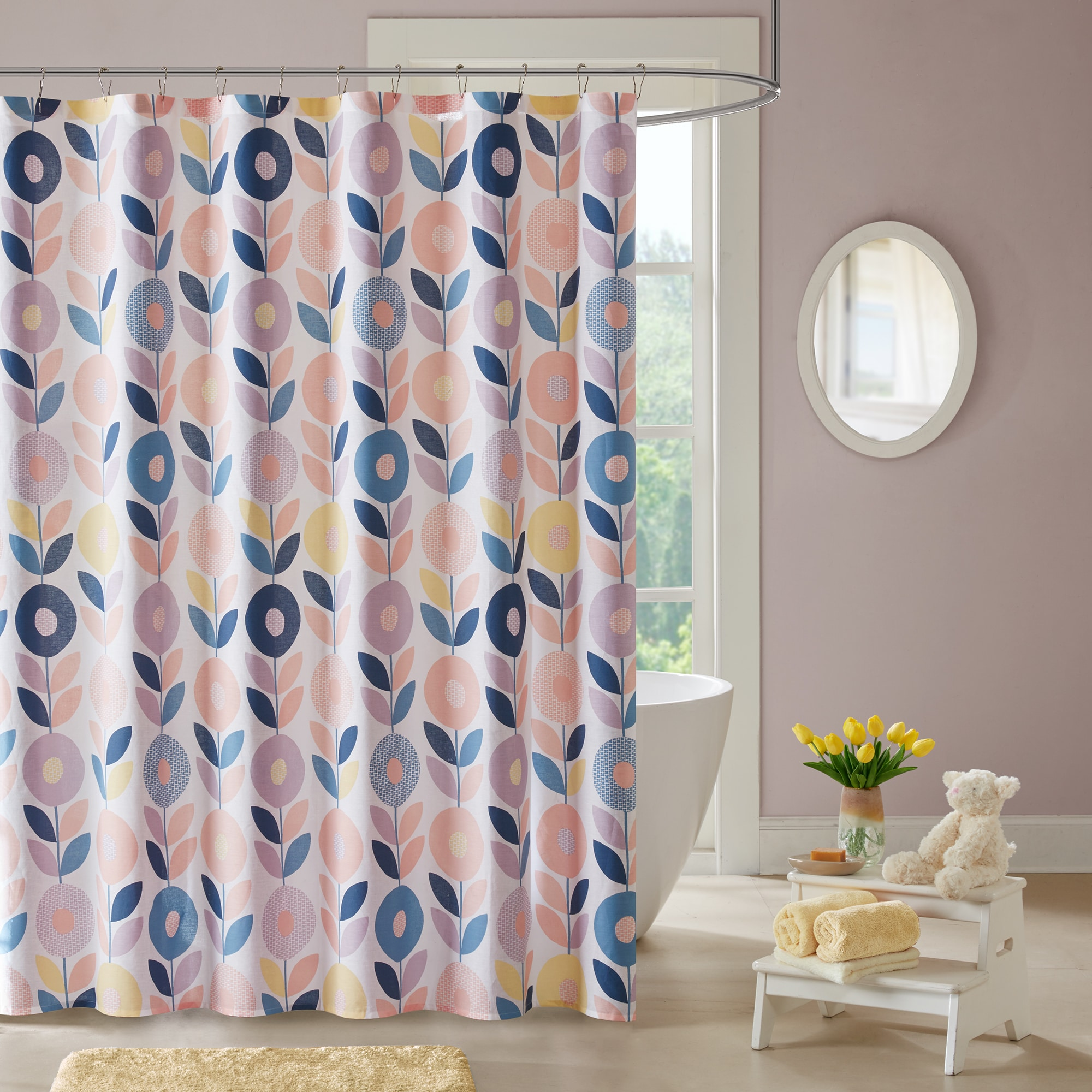 Shop Urban Habitat Kids Millie Peach Cotton Printed Shower Curtain Overstock 14198709