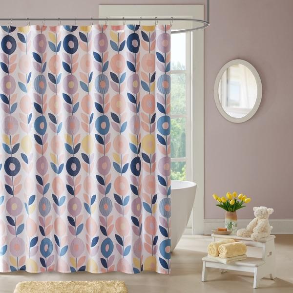 Urban Habitat Kids Millie Peach Cotton Printed Shower Curtain