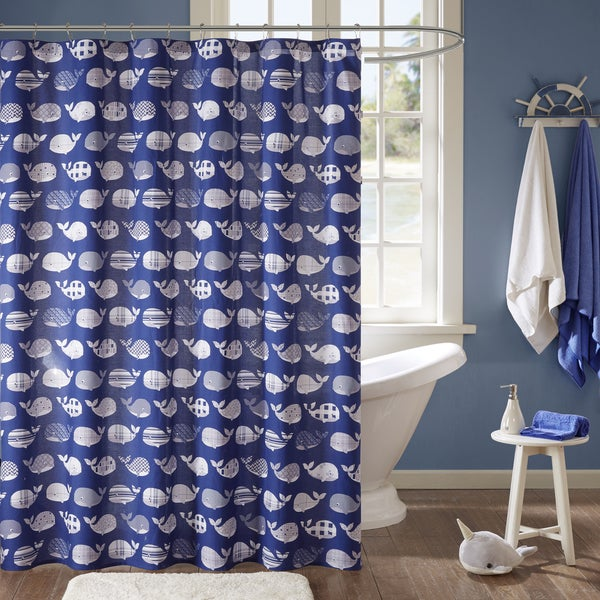 Urban Habitat Kids Nolan Navy Cotton Printed Shower Curtain