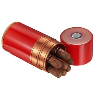 Visol Big Joe Red Lacquer & Copper Cigar Travel Humidor