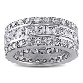 Catherine Catherine Malandrino Square and Round-Cut Cubic Zirconia Triple Row Eternity Band in Sterling Silver