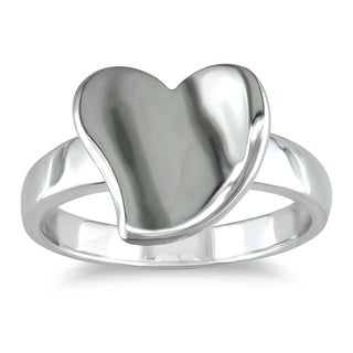 Catherine Catherine Malandrino Curvy Heart Ring in High Polished Sterling Silver