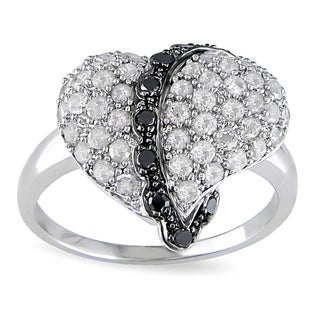 Catherine Catherine Malandrino 1ct TDW Black and White Diamond Cross-My-Heart Cocktail Ring in Sterling Silver (I-J,I2-I3)