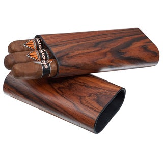 Visol Bruce Natural Wood Cigar Case - 3 Cigars