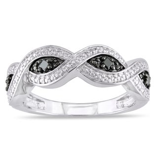 Catherine Catherine Malandrino 1/6ct TDW Black Diamond Infinity Anniversary Band in Sterling Silver