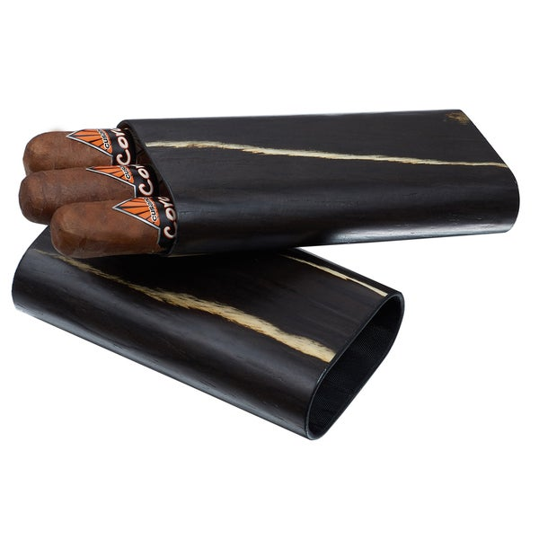 Visol Silas Exotic Dark Wood Cigar Case - 3 Cigars