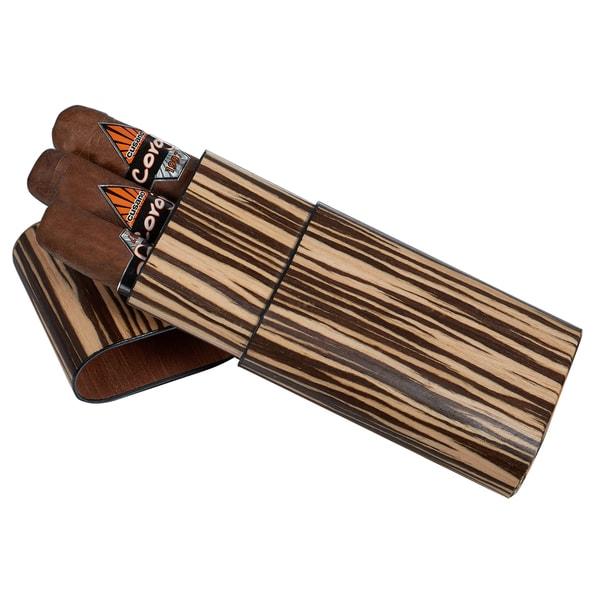 Visol Sawyer Zebrawood Cigar Case - 3 Cigars