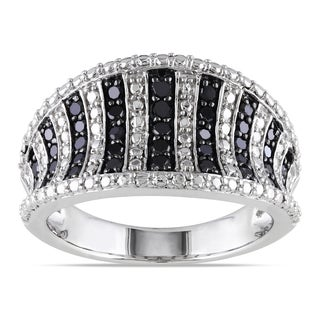 Catherine Catherine Malandrino 1/2ct TDW Black Diamond & Diamond Illusion Striped Ring in Sterling Silver with Black Rhodium
