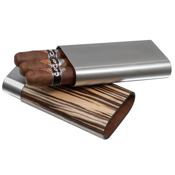 Visol Carver Zebrawood and Stainless Steel Cigar Case - 3 Cigars