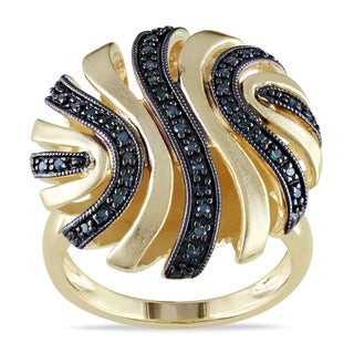 Catherine Catherine Malandrino 1/5ct TDW Blue Diamond Swirl Cocktail Ring in Yellow Plated Sterling Silver with Black Rhodium