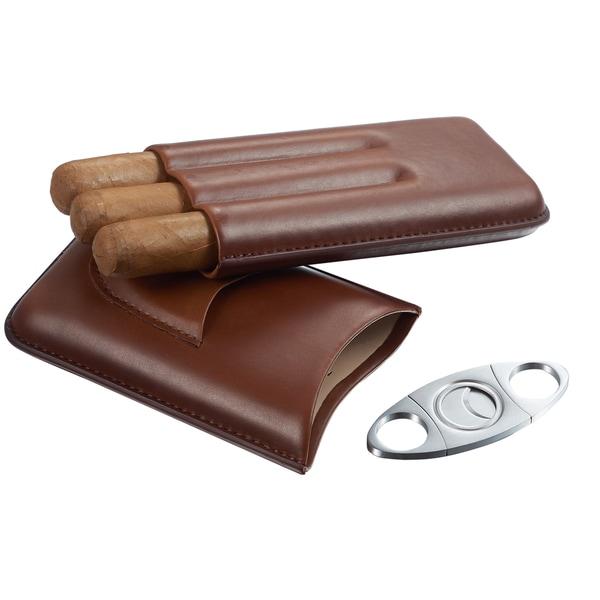 Visol Legend Brown Genuine Leather Cigar Case with Cutter