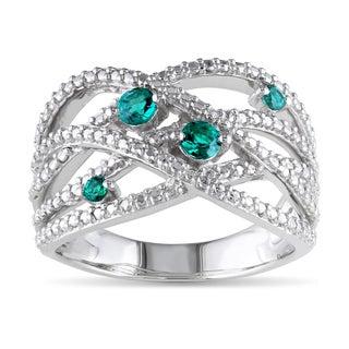 Catherine Catherine Malandrino Simulated Emerald Diamond Illusion Crossover Ring in Sterling Silver