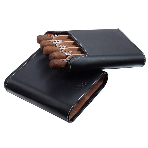 Visol Cuero Genuine Black Leather 5-Finger Cigar Case