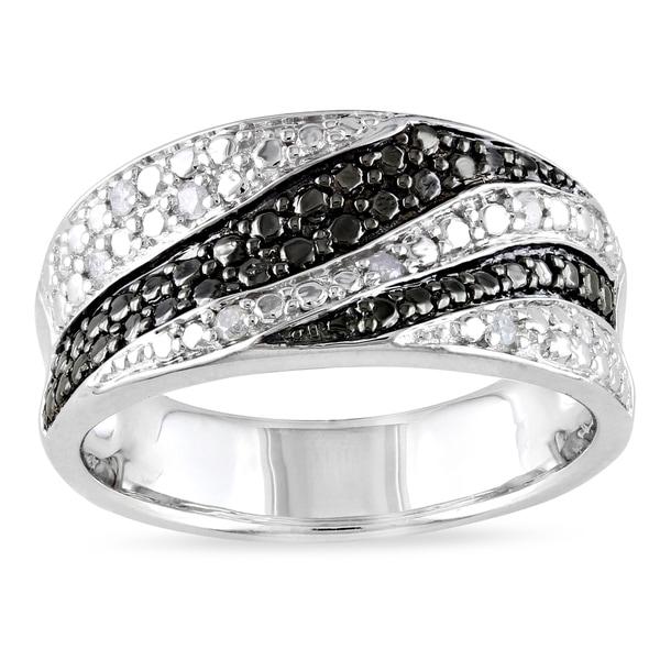 Catherine Catherine Malandrino 1/10ct TDW Black & White Diamond Swirl Ring in Sterling Silver with Black Rhodium (G-H,I2-I3)