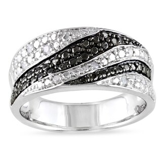 Catherine Catherine Malandrino 1/10ct TDW Black & White Diamond Swirl Ring in Sterling Silver with Black Rhodium (G-H,I2-I3)