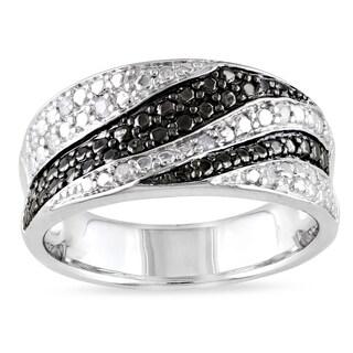 Catherine Catherine Malandrino 1/10ct TDW Black & White Diamond Swirl Ring in Sterling Silver with B