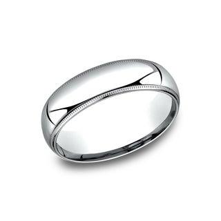 Men's 6 mm Comfort-Fit Inside Comfort Fit Wedding Band - Platinum