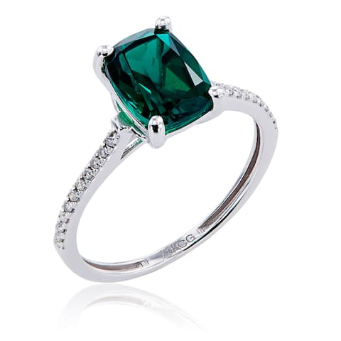 10k White Gold Created Emerald and Diamond Ring - Green