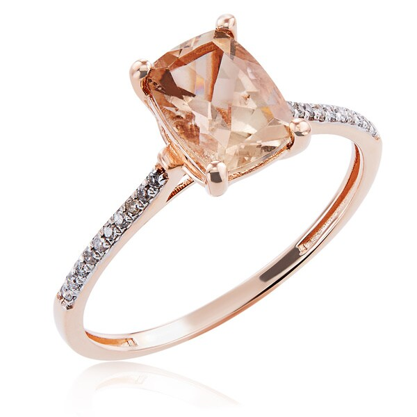 10K Rose Gold 1.31ct TW Morganite and Diamond Ring (G-H, I2-I3) - Pink