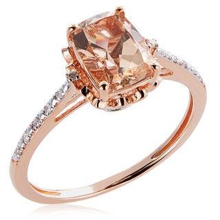 10K Rose Gold 1.31ct TW Morganite and Diamond Ring (G-H, I2-I3)
