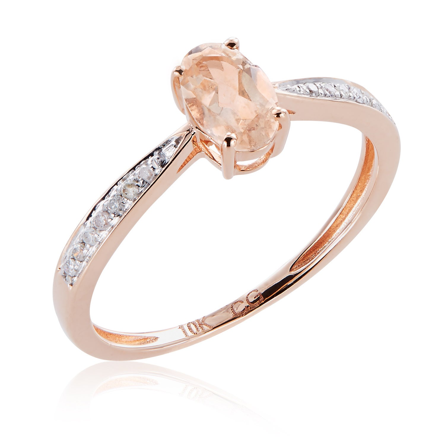 Size-6.5 G-H,I2-I3 1//10 cttw, Diamond Wedding Band in 10K Pink Gold